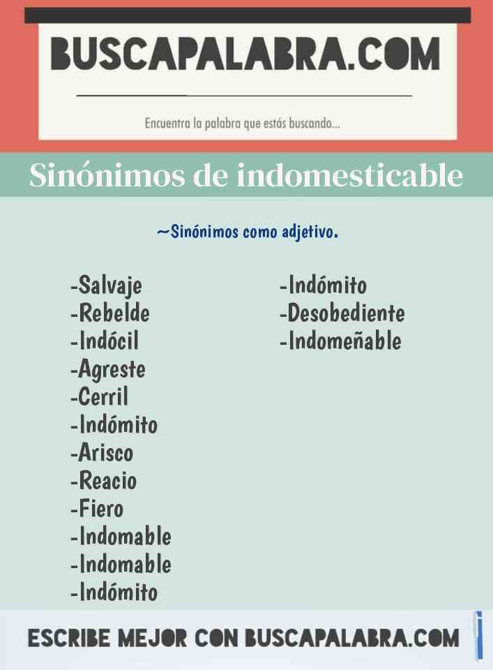 Sinónimo de indomesticable